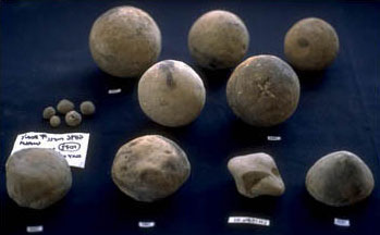 an assortment of clay balls, of different shapes and sizes